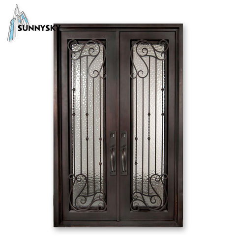 New entry modern operable double glass window wrought iron door design for home on China WDMA