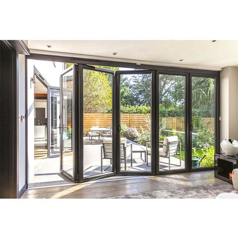 New technology slide track smoothly double glass folding patio large window door on China WDMA