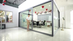 White Aluminum Sliding Door With security protection net on China WDMA