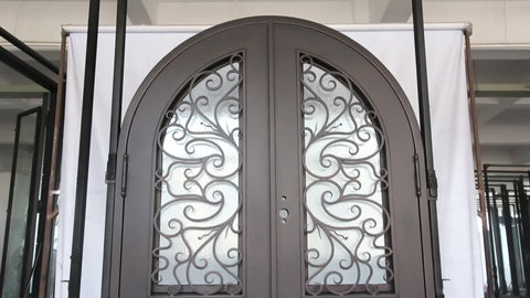Wholesale White Finish Double entry iron grill door designs on China WDMA