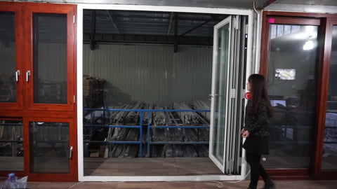 AS2047 European Style Aluminum Terrace Anti-Theft Shatterproof Glass Folding Door For Restaurant on China WDMA