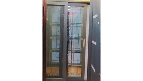 Interior Commercial Waterproof Dark Greys Size Exterior Security Fly Screen Tempered Glass Sliding Door With Trickle Vent on China WDMA