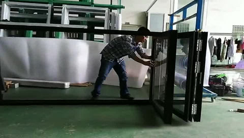 Used Commercial Folding Glass Window with Blind Inside on China WDMA