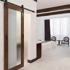 New Design Hotel Glass Wood Framed Sliding Glass Door/Mirrored Barn Door with Sliding Door Glass Hardware Kit on China WDMA