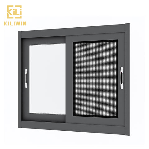 OEM sliding glass window materials mosquito screen small triple track sliding black aluminum windows for Thailand kitchen on China WDMA