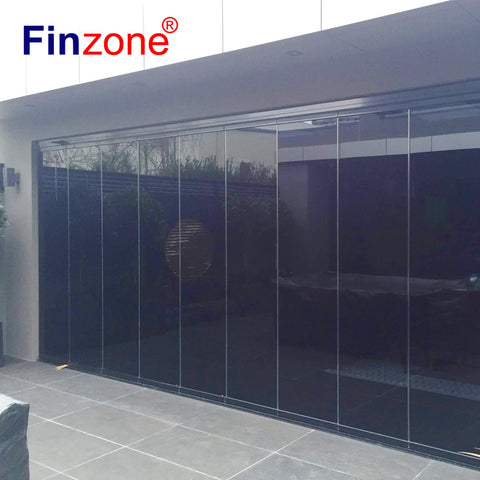 Oem new waterproof frameless sliding folding glass curtain door for patio partition wall on China WDMA