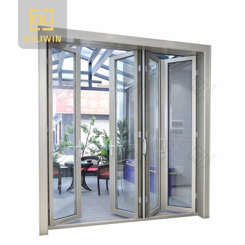 Oem residential exterior 4 panel reflective single glass anodized aluminum frame bifold door for patio on China WDMA