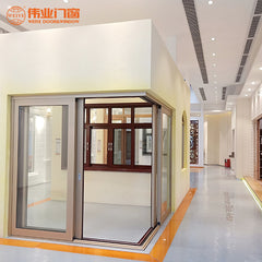 Office building use electric remote push and pull aluminum sliding doors on China WDMA