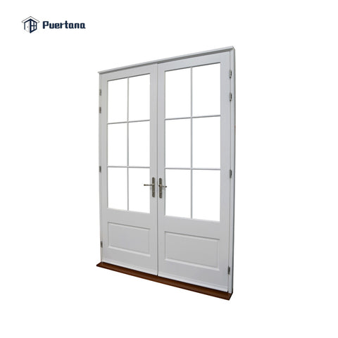 Out swing water proof safety locks secured double glass wood door with white frame french door for exterior on China WDMA