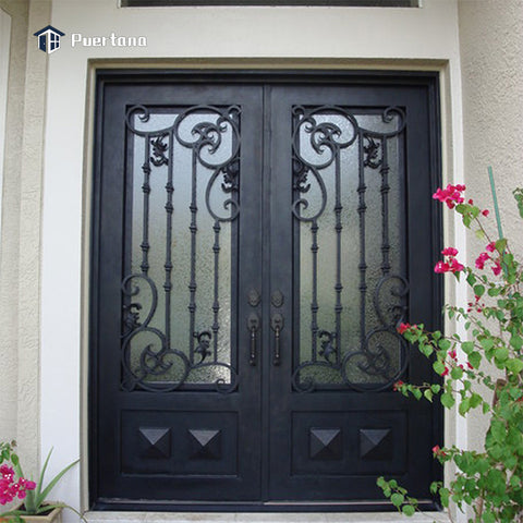 Outdoor Wrought Iron French Patio Glass Door Lowes Wrought Iron Front Double Main Entry Storm Door Price on China WDMA