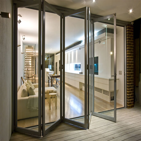 Outdoor french aluminium folding bi fold wall doors uk aluminum vertical bi-folding decorative interior bifold door on China WDMA