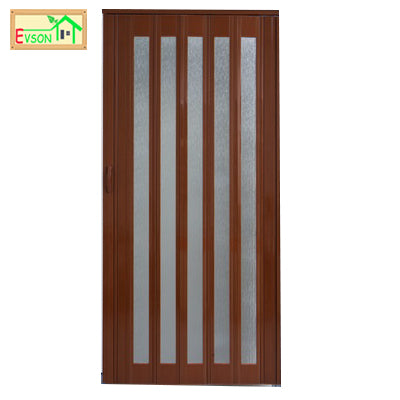 PVC Folding Door PVC Glass Accordion Doors Cost With Wooden Grain on China WDMA