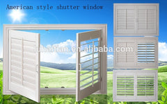 PVC Material shutter louver and blade double glass, built in shutter windows with steel net on China WDMA