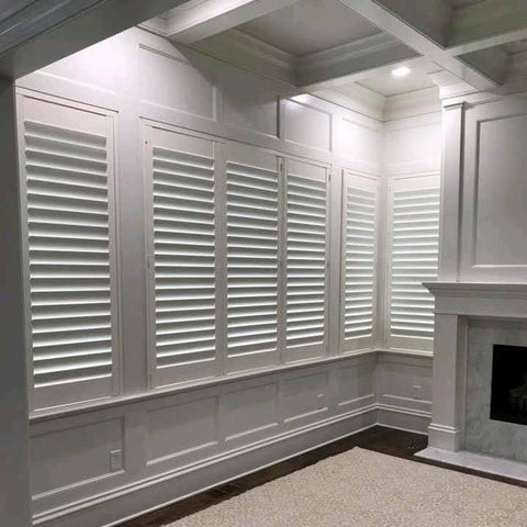 PVC Plantation shutter doors lead free security window blinds interior residential shutters bay pvc window shutters on China WDMA