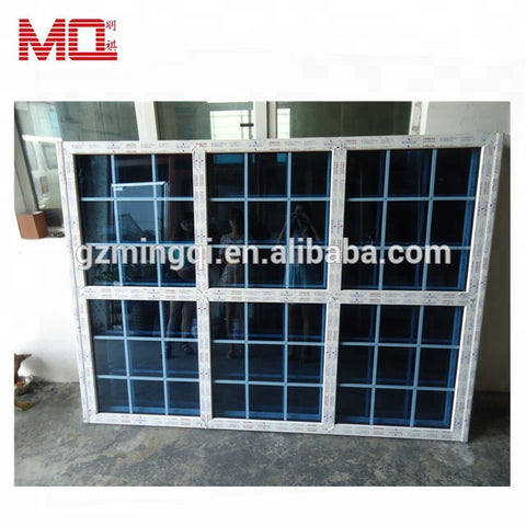PVC vertical sliding window with grid upvc double hung window grill design on China WDMA