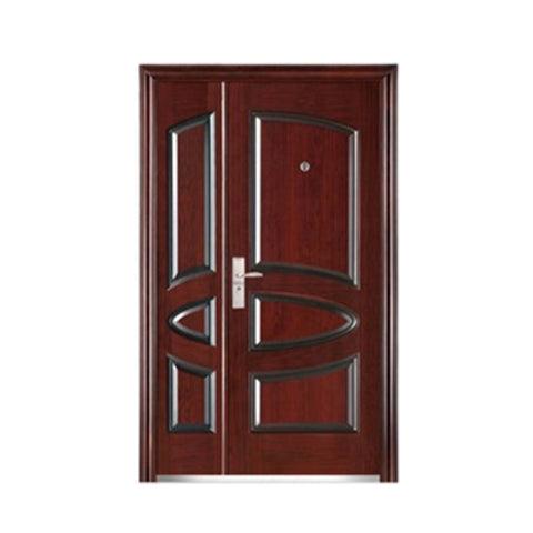Painting Coating Metal Door Frame Chinese Mother and Son Steel Door on China WDMA
