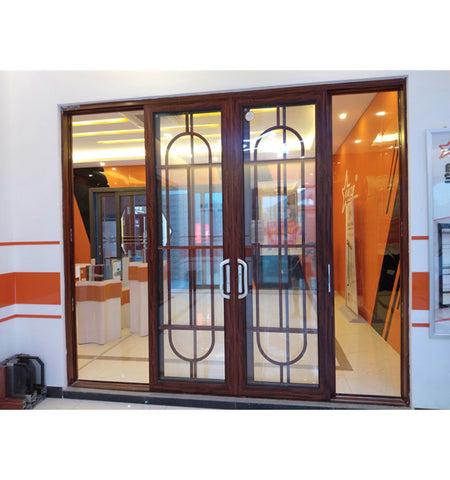 Patio Door Triple Rail Aluminum Double Tempered Glass Sliding Door with Mosquito Net on China WDMA