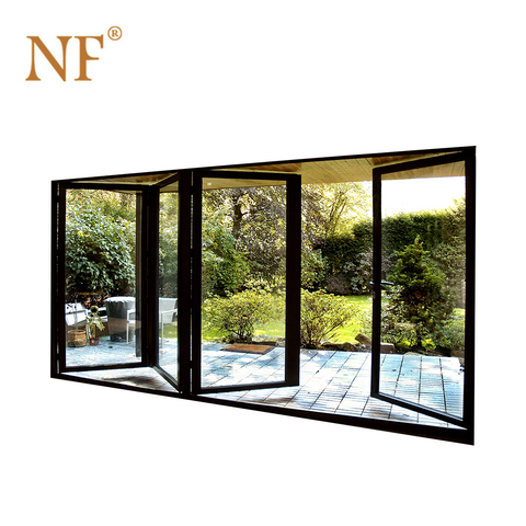 Patio garden exterior aluminum frame double glass bifold/bi-fold/bifolding doors on China WDMA