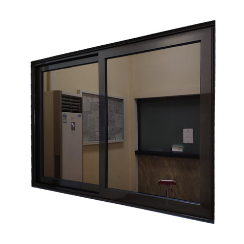 Philippines house cheap price double pane heat insulation reflect glass black aluminum sliding windows for sale on China WDMA
