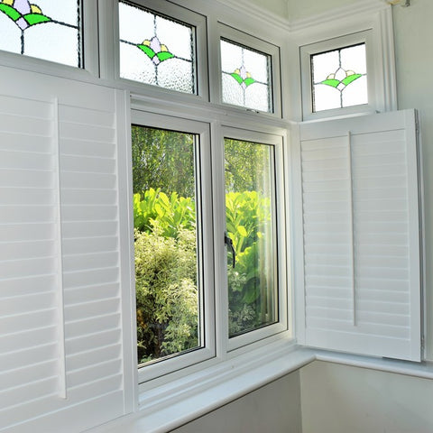 Poly wood or PVC plantation window shutters with 63 and 89mm louver at low price on China WDMA