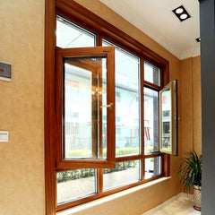 Popular designs aluminium frame glass windows with powder coating and wood grain on China WDMA