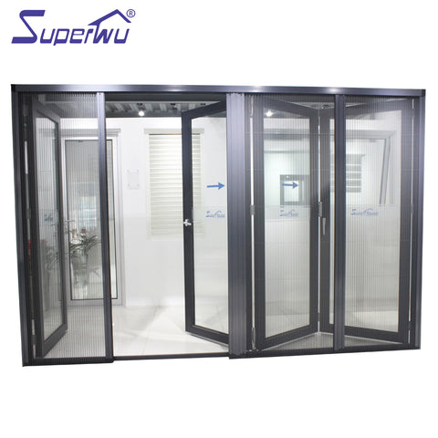 Powder Coated three panel sliding glass folding door with flyscreen on China WDMA