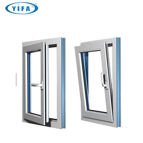 Prefabricated double hung W55 insulation burglar proof glass open style aluminum double pane swing window on China WDMA