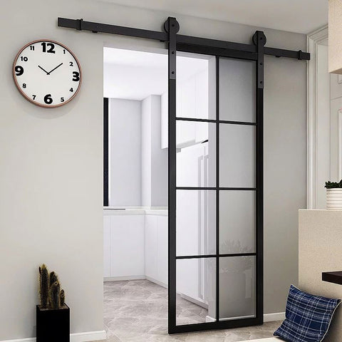 Professional Wrought Iron French Entry Barn Sliding Glass Door Designs on China WDMA