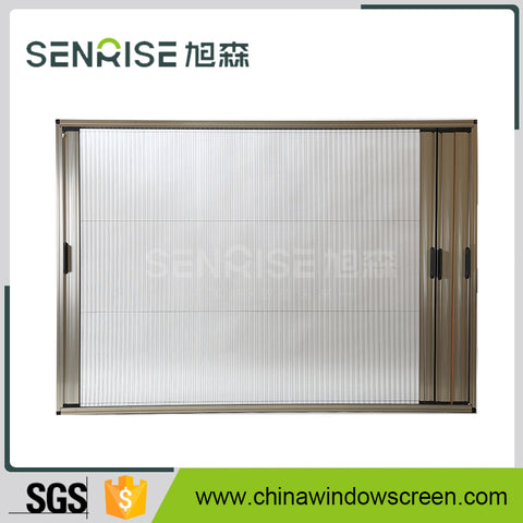 Pulldown Pleated fly screens for use on awning windows, casement windows,sash windows and sliding windows