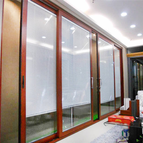 Quality Interior Commercial Industrial Profile Garage Aluminium Balcony With Blinds Inside Australia Tempered Glass Sliding Door on China WDMA