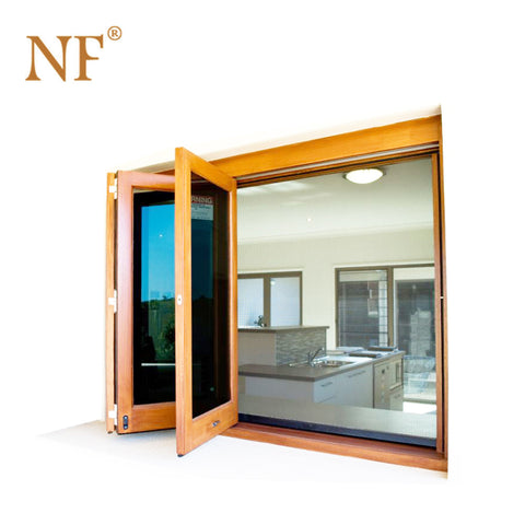 Quality wood clad Aluminum frameless bi fold folding accordion glass window on China WDMA