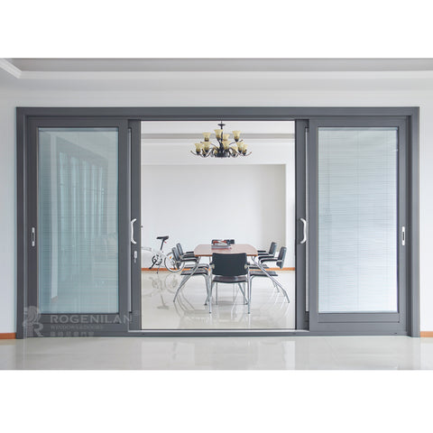 ROGENILAN 139 series residential sliding door aluminum double glass door with venetian blinds on China WDMA