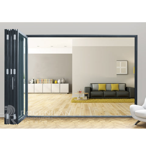 ROGENILAN 75# Accordion aluminum glass patio exterior 12 feet bifold doors / folding doors on China WDMA