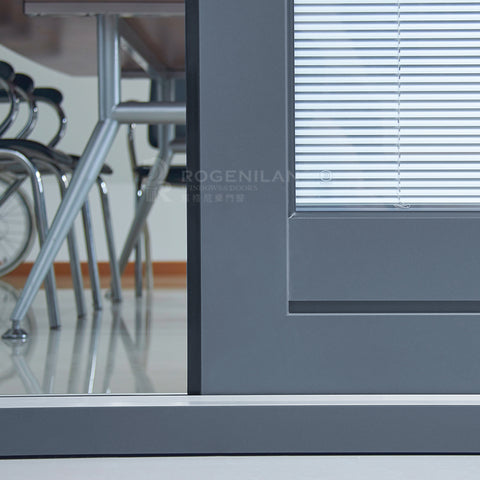 ROGENILAN Australian AS2047 standard double glass aluminum sliding doors with blinds inside on China WDMA
