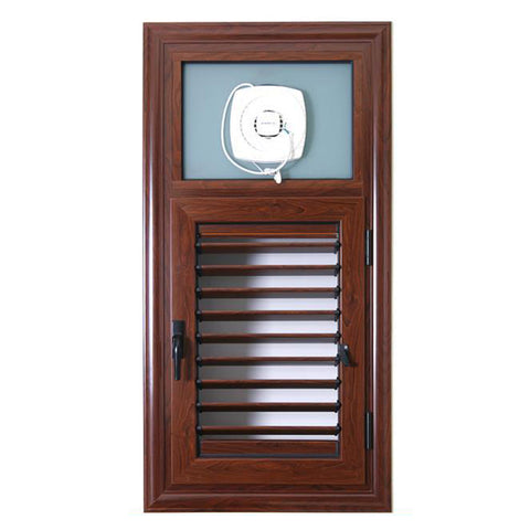 ROGENILAN Indoor Wooden Grain Louver Shutters Aluminium Bathroom Window Designs on China WDMA