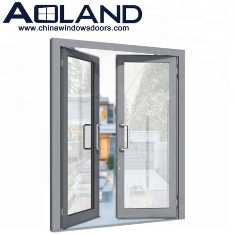 Residential aluminium patio double swing french doors with tinted double glass on China WDMA