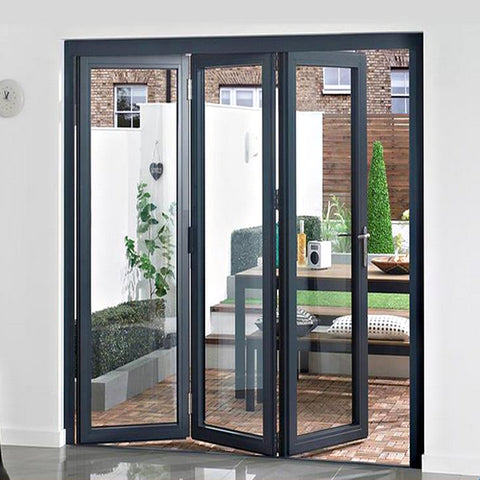Residential exterior french glass doors,balcony sliding glass door,patio accordion bi fold door on China WDMA