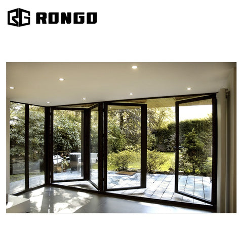 Rongo Low price exterior entry industrial bifold glass doors on China WDMA