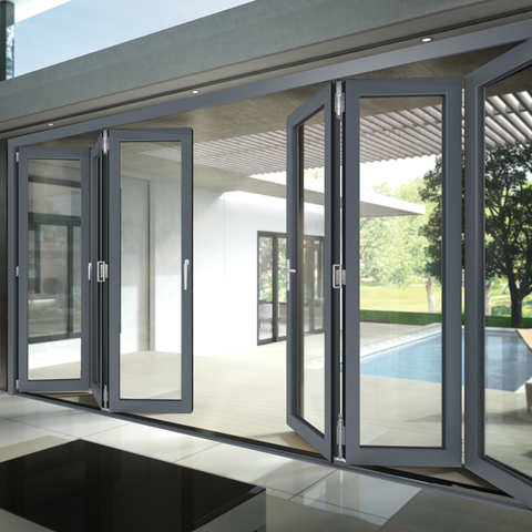 Rongo Low price exterior patio tempered glass aluminium folding doors price on China WDMA