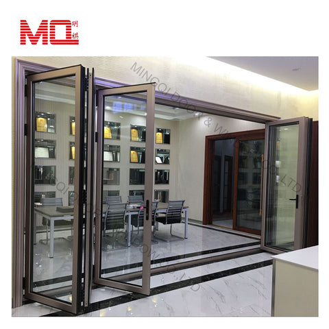 Safety design soundproof Indoor living room bi bifold profile door accordion interior glass aluminum folding doors on China WDMA