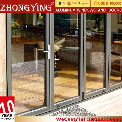 Screen Bifolding Lowes Aluminum Bi-Fold Door , Frameless Foldable Sliding Glass Louvre Doors System on China WDMA