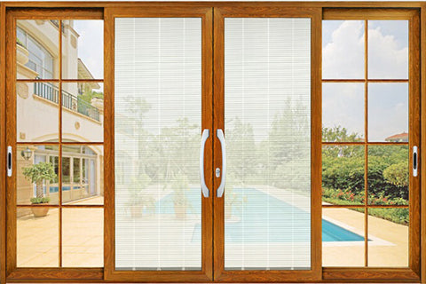 Security aluminium louver patio sliding door with roto hardware/sliding door with magnetic or electric blinds/louver/shutter on China WDMA