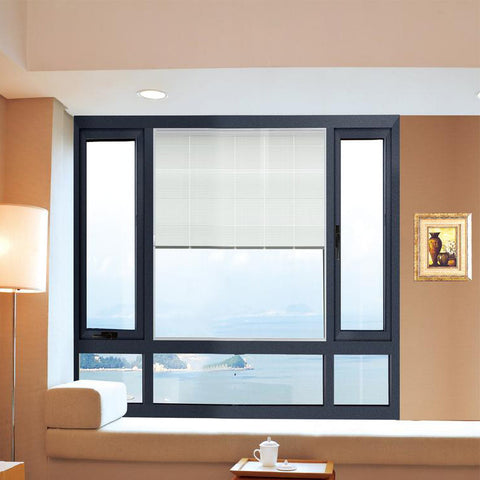 Security aluminum double panel swing glass corner window selling louvre window on China WDMA