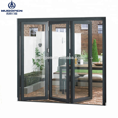 Shop Front Entry Entrance Doors aluminum alloy Bi-folding Multi-Panels pane sections door/Main main gate designs on China WDMA