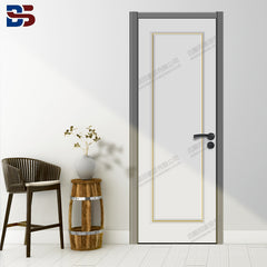 Simple Modern design Light Luxury Interior Solid Oak wooden door with metal strip/copper strip painted thin Frame on China WDMA
