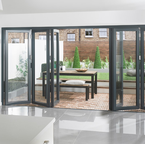 Simple design High quality aluminum folding glass patio door with good price on China WDMA