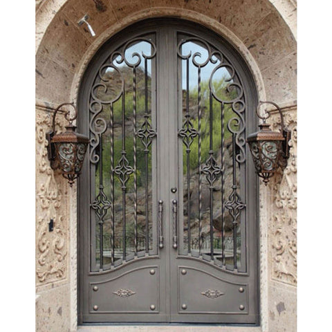 Sliding double door iron grill design wrought iron main gate on China WDMA