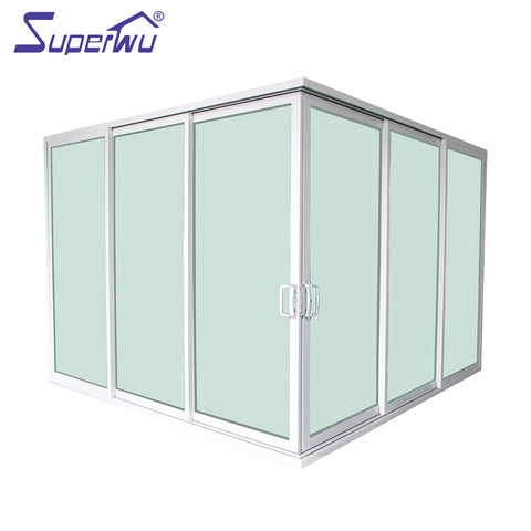 Solution to USA market commercial aluminium three rails six panels corner sliding doors on China WDMA