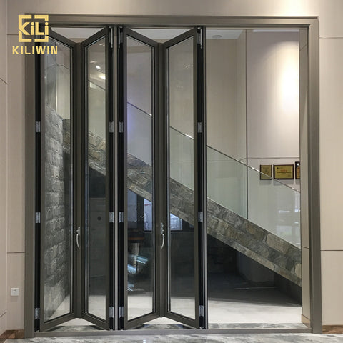 Sound proof folding door manufacturers exterior double glass accordion folding exterior french doors for veranda entrance on China WDMA on China WDMA