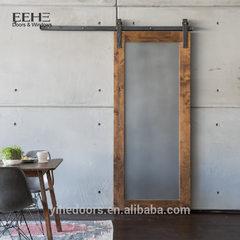 Soundproof interior sliding wood frame glass barn doors with glass inserts on China WDMA